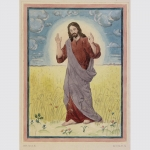 Bober, Richard: Original-Aquarell, Jesus Christus auf Wiese