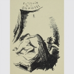 Bettscene. Erotisches Exlibris K. J. Obratil